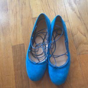 J Crew Blue Suede Lace up Ballet Flats